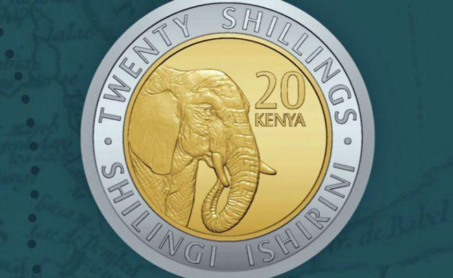 Moneda de 20 chelines kenianos