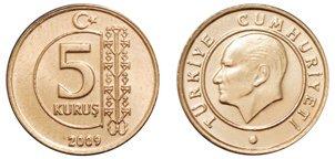 Moneda de 5 kurus Turquía