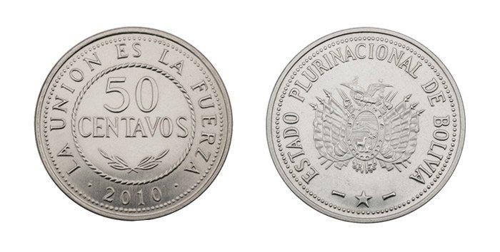 Moneda de 50 centavos de Boliviano 2019