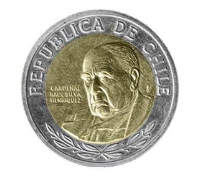 Moneda de 500 pesos chilenos anverso