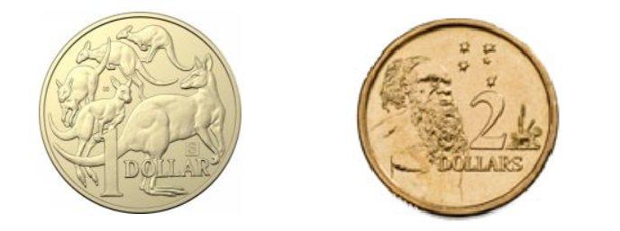 Monedas de 1 AUD y 2 AUD