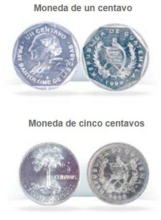 Monedas de 1 y 5 centavos de Quetzal de Guatemala
