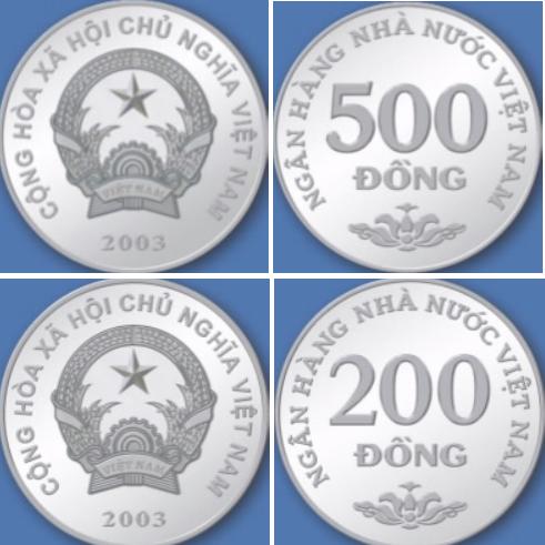 Monedas de 500 y 200 dong vietnamitas VND