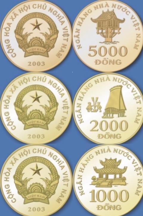 Monedas de 5000, 2000 y 1000 dóng vietnamitas VND