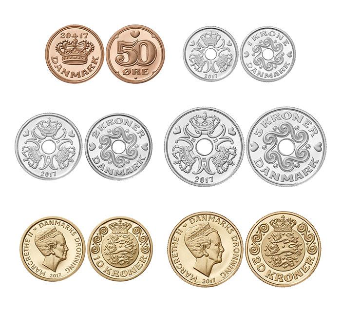 Monedas de coronas de Dinamarca