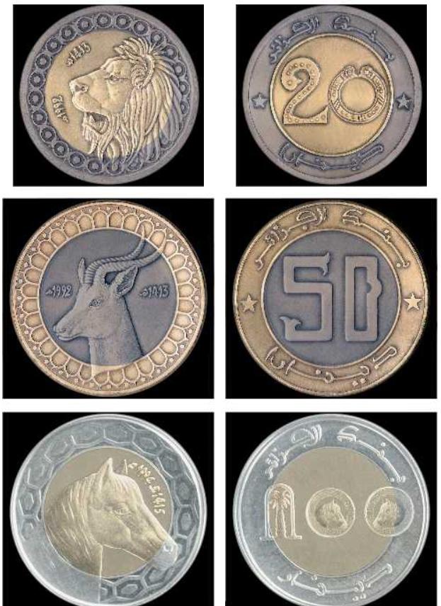 Monedas de dinar de Argelia