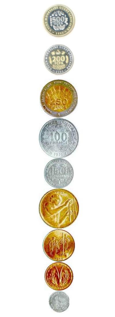 Monedas de franco CFA cruz