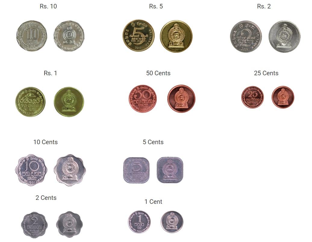 Monedas de rupia de Sri Lanka