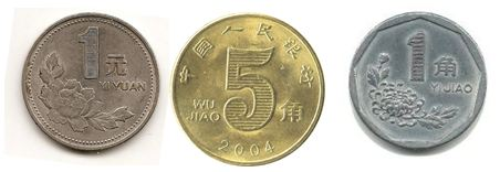 Monedas de yuan y jiaos