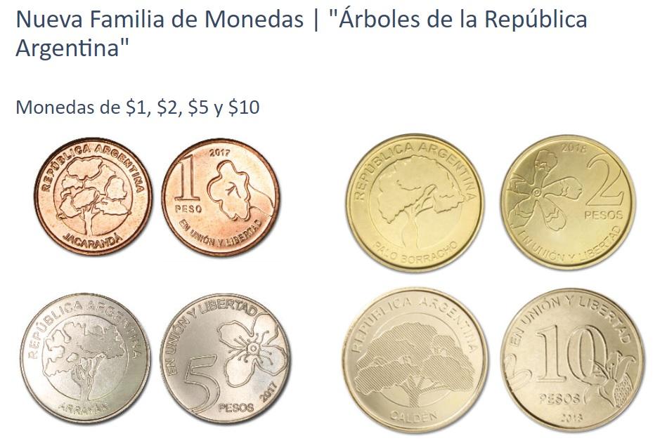 Nueva Familia de Monedas de pesos argentinos Arboles de la República Argentina