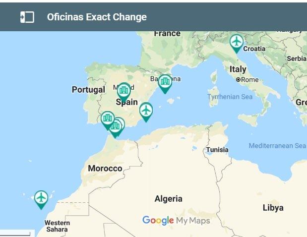 Oficinas Exact Change en el mundo