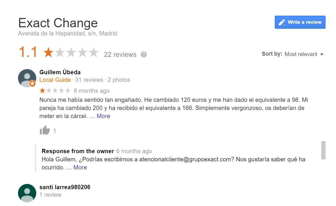 Opiniones Exact Change en Google