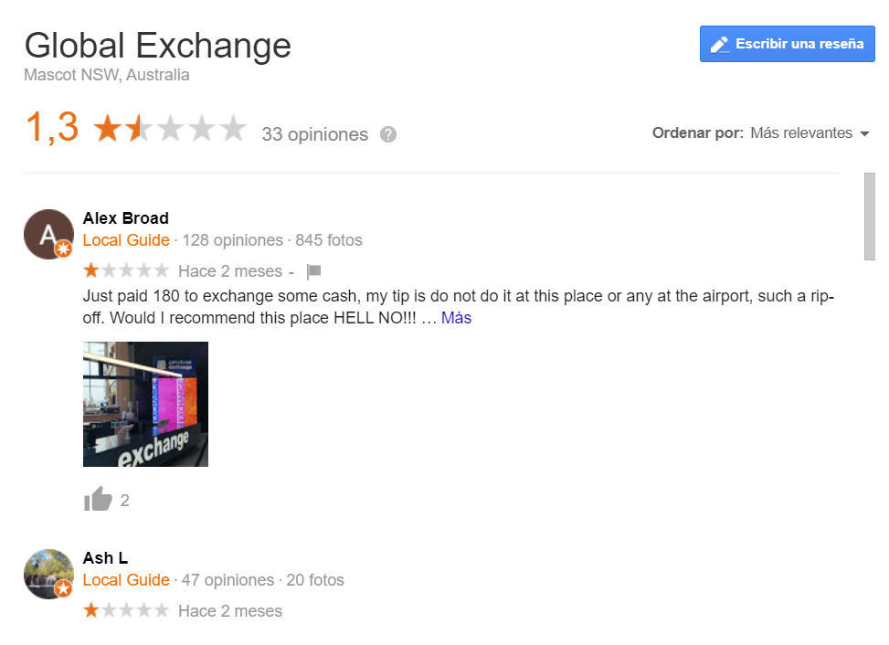 Opiniones Global Exchange Sidney Australia