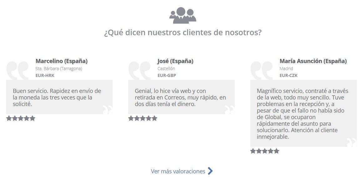 Opiniones Global Exchange extraídas de su web