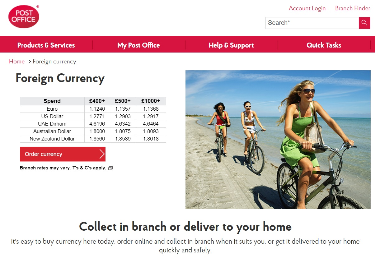 Post Office currency exchange service UK