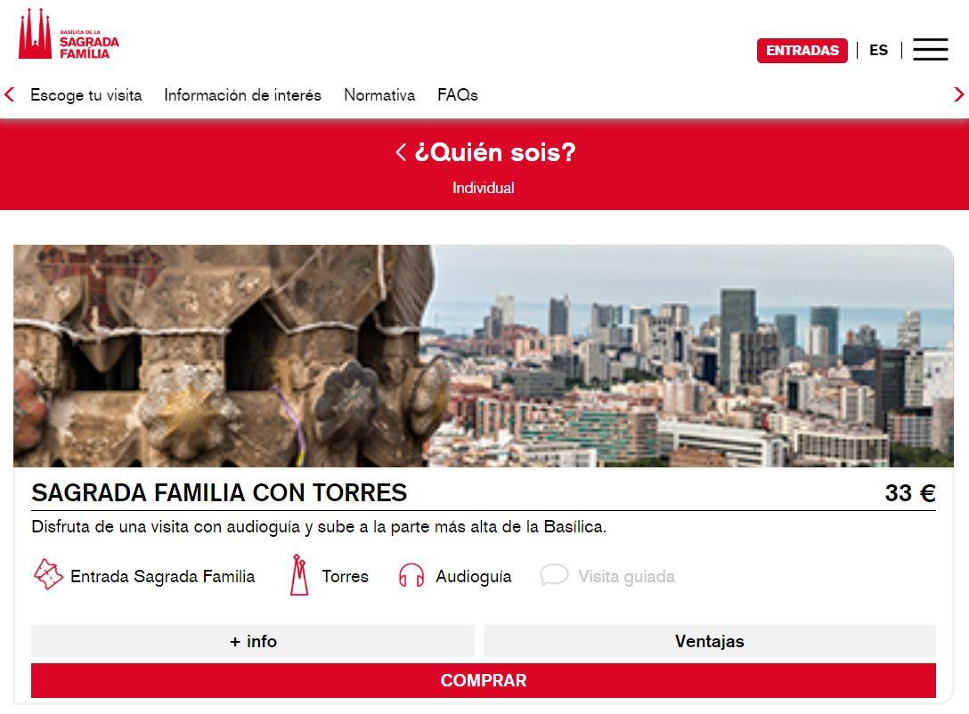Precio entradas Sagrada Familia de Barcelona