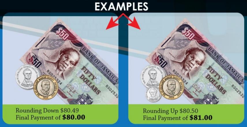 Redondeo de moneda en Jamaica