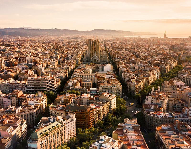 Sagrada Familia de Barcelona vista panorámica