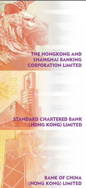 Signos distintivos de los 3 bancos emisores de Hong Kong