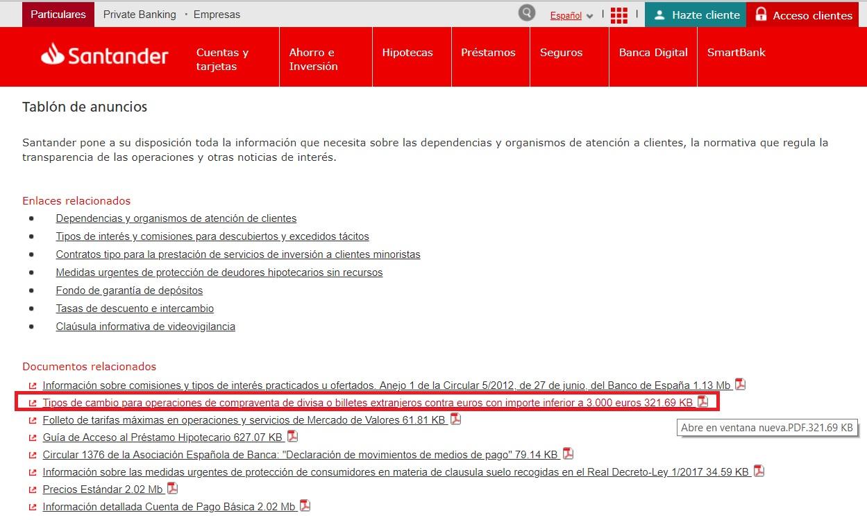 Tablón de anuncios Banco Santander
