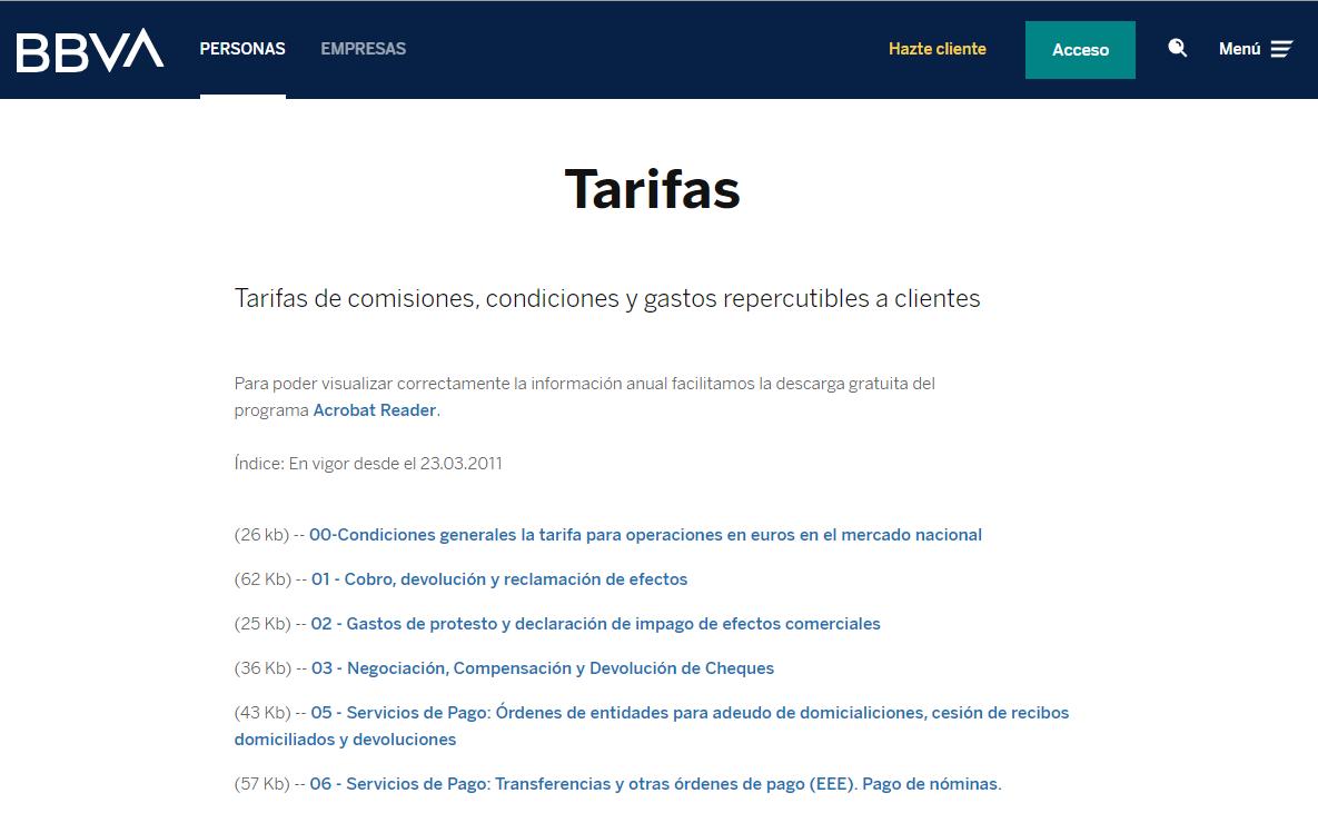 Tarifas y Comisiones BBVA 2020