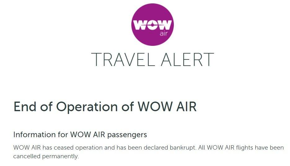 Ultimo mensaje publicado en la wen de Wow Air marzo 2019