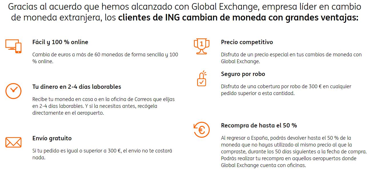 Ventajas servicio de cambio de divisas ING con Global Exchange