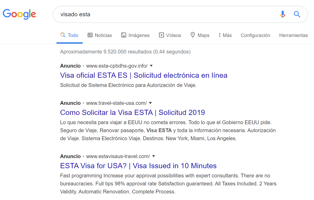 Visado ESTA Estados Unidos resultados Google 03 2020 Cuál es la web oficial