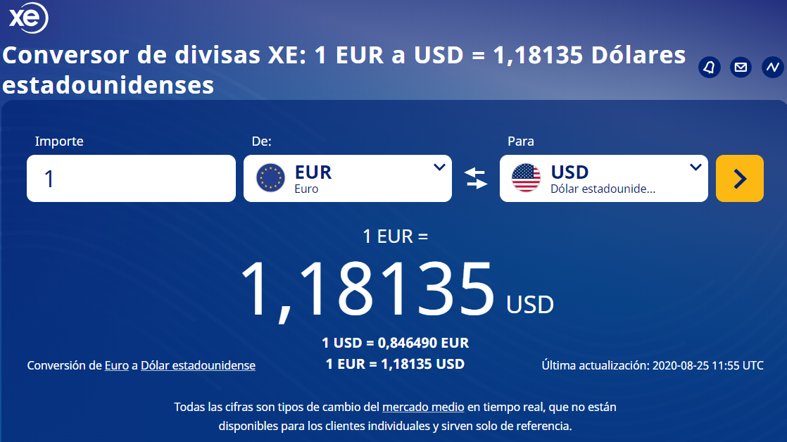 XE Tipos de cambio de divisas del mercado medio 25 08 2020