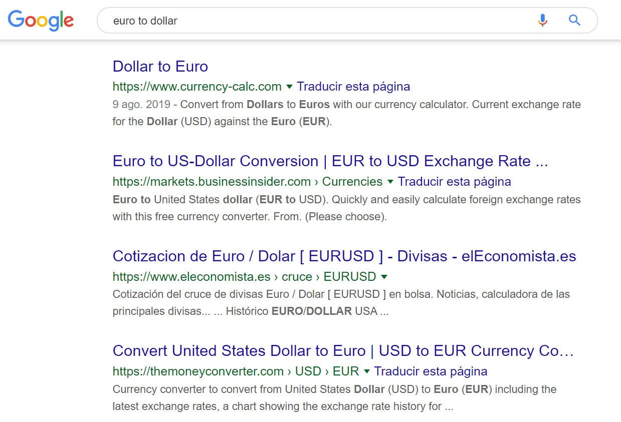 euro to dollar rate